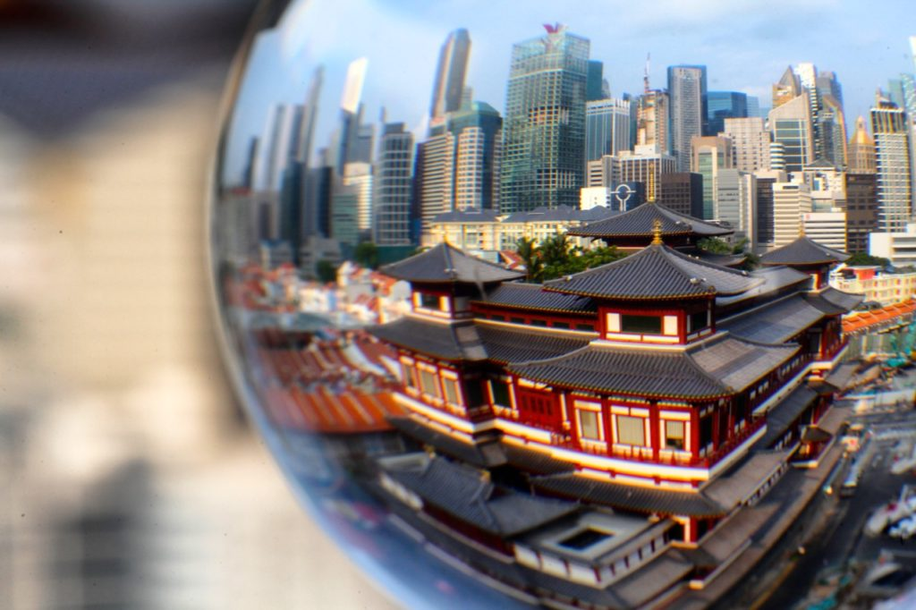 The broken tooth relic temple in Singapore would take up most of the frame with a wide angle lens.