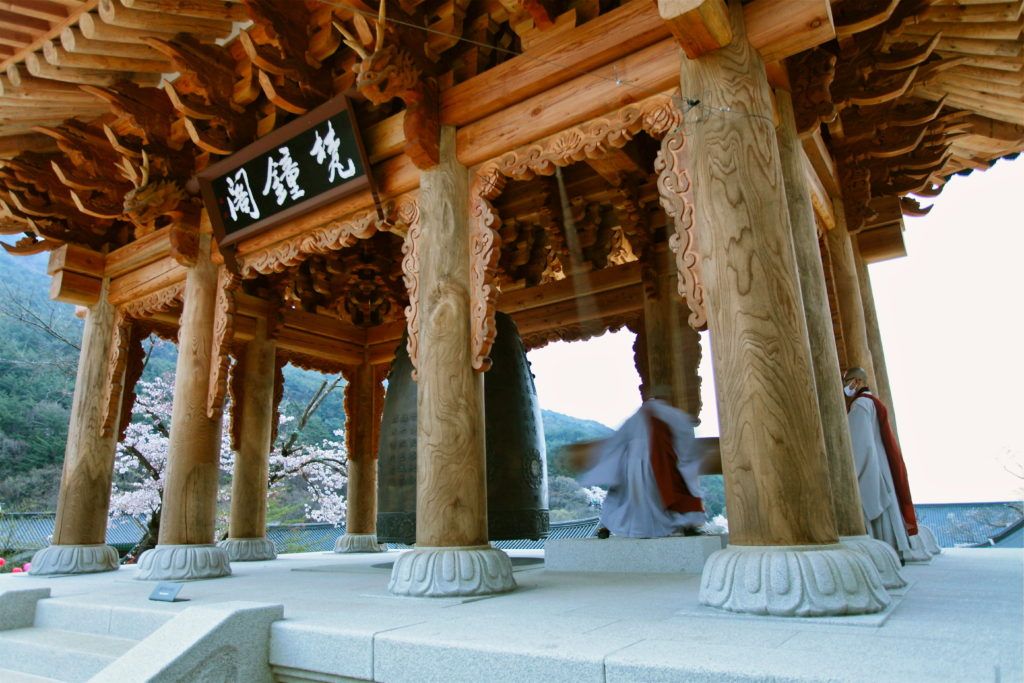 At the beginning and end of the day there is a ceremony at Buddhist temples. Part of the ceremony involves a giant bell being rung.