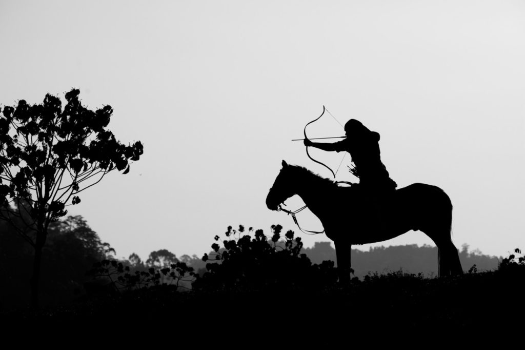 In this photo there are strong silhouettes, the shape and form of the horse and archer really dominate the frame. The foliage on the left adds a nice counter balance as well. This image ended up being the opening double page spread for a magazine, editors love this type of graphic image.