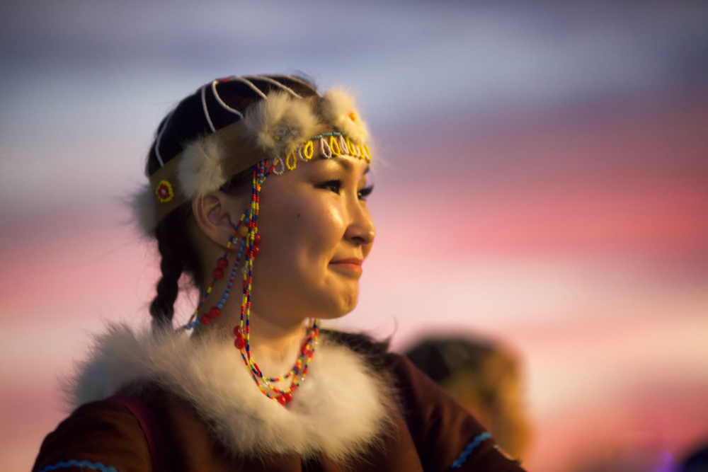 A Yakutian girl wearing traditional clothes at sunset. This is one of the best creative photos Simon Bond took in 2018.