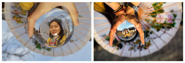 A Lensball portrait of a South Korean women.