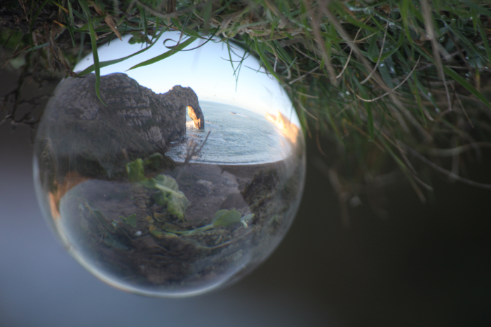 A Lensball photo of Durdle Door on the south coast of the U.K.