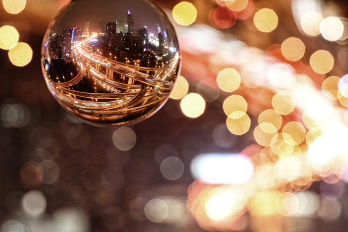 This photo shows the potential of the lensball to capture a wide night time cityscape, this image was taken in Shanghai.